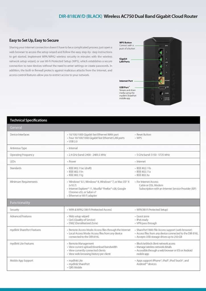 D-Link DIR-818LW Wireless AC750 router technical specification