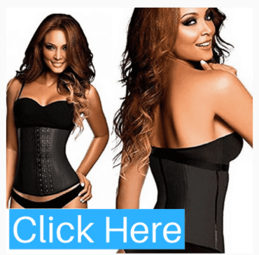 Black 3 Hook Latex Waist Cincher Belt